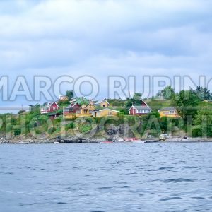 Colorful houses on the shore of Oslo fjord, Norway