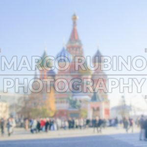 Defocused Background of St. Basil's Cathedral in Moscow. Intentionally blurred post production