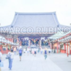 Defocused Background with Buddhist Temple in Tokyo, Japan.