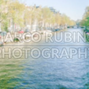Defocused Background with Canal in Amsterdam. Intentionally blurred post production