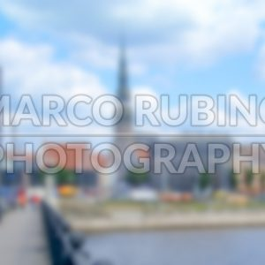 Defocused Background with the Old Town of Riga. Intentionally blurred post production