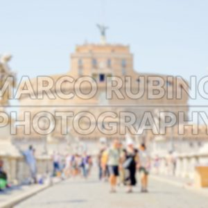 Defocused background of Castel Sant'Angelo fortress and bridge, Rome