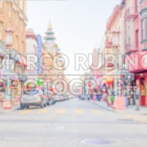 Defocused background of Chinatown district in San Francisco, USA