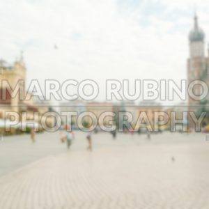 Defocused background of Rynek Glowny, Main Square in Krakow, Poland