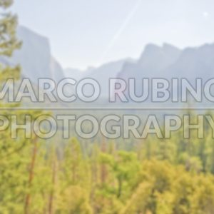 Defocused background of Yosemite Valley from Tunnel View, California