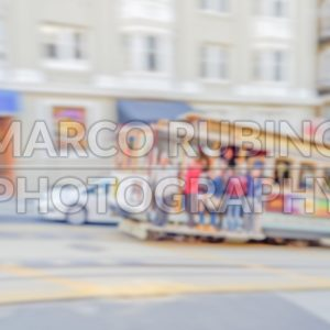 Defocused background of a cable car in San Francisco, USA