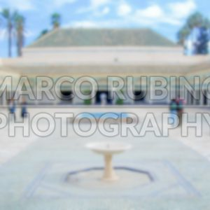 Defocused background of a courtyard in Marrakech, Morocco