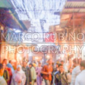 Defocused background of a souq, traditional market, in Marrakech, Morocco