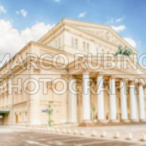 Defocused background of the iconic Bolshoi Theatre, Moscow, Russia