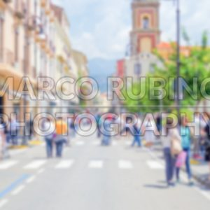 Defocused background of the main street in Sorrento, Italy