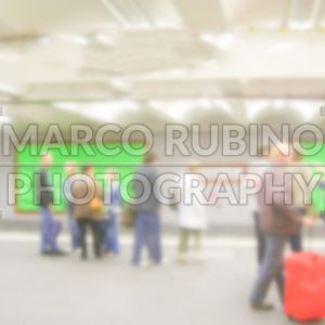 Defocused background with Alexanderplatz Subway Station in Berlin. Intentionally blurred post production