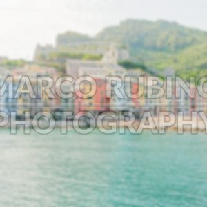 Defocused background with View of Portovenere,  near Cinque Terre, Italy