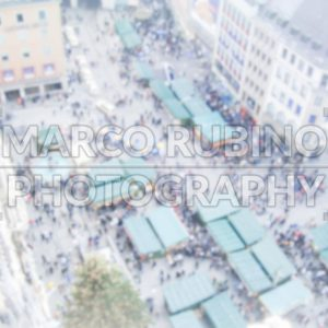 Defocused background with aerial view of Marienplatz in Munich. Intentionally blurred post production