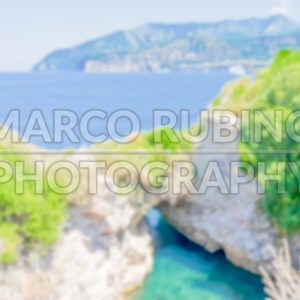 Defocused background with beautiful seaside at Sorrento, Italy