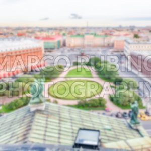 Defocused background with panoramic view over St. Petersburg, Russia