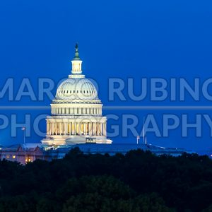 Dome of the United States Capitol building at night, Washington DC, USA