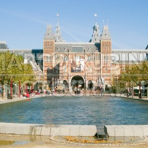 Facade of the Rijksmuseum in Amsterdam, Netherlands