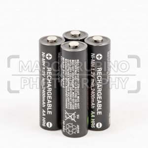 Four unbranded black AA rechargeable batteries