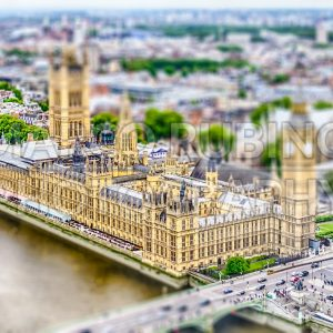 Houses of Parliament, London, UK. Tilt-shift effect applied