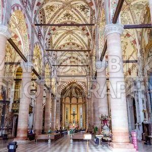 Interiors of the Church of Santa Anastasia, Verona, Italy
