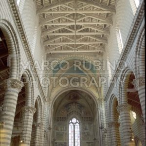 Interiors of the medieval gothic Cathedral of Orvieto, Italy