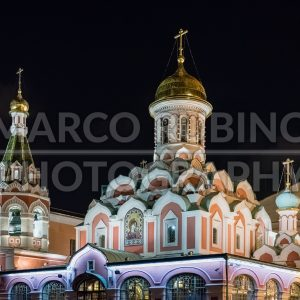 Kazan Cathedral at night  in Red Square, Moscow, Russia