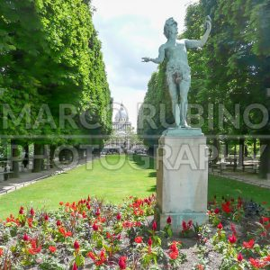 Luxembourg Garden, with the Pantheon on background, Paris, France