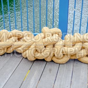 Marine rope tightly knotted in Boston, USA