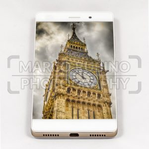 Modern smartphone displaying full screen picture of London, UK