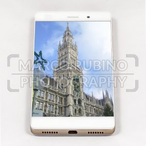 Modern smartphone displaying full screen picture of Munich, Germany