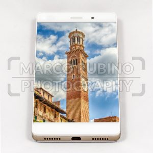 Modern smartphone displaying full screen picture of Verona, Italy