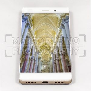 Modern smartphone displaying full screen picture of a Cathedral, Italy
