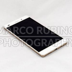 Modern smartphone with blank black screen, isolated on white background