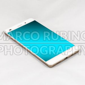 Modern smartphone with blank blue screen, isolated on white background