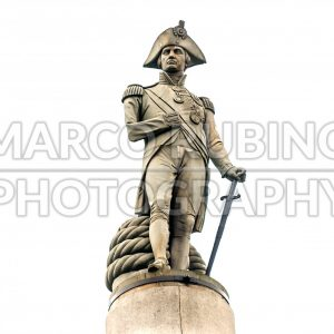 Nelson statue atop column at Trafalgar Square, London, UK