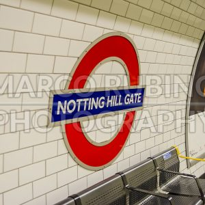Notting Hill Gate subway sign in London, UK