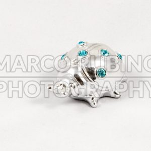 Ornamental silver ladybird with gemstones