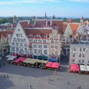 Panoramic View of Raekoja Plats in the Old Town of Tallinn, Estonia