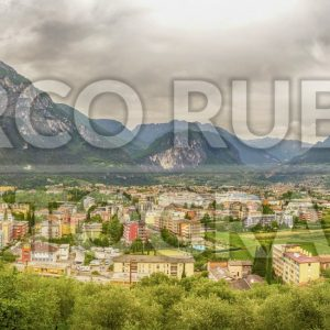 Panoramic view over Riva del Garda, Northern Lake Garda, Italy