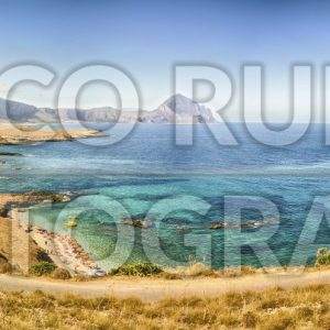 Panoramic view over sicilian coastline and Cofano Mountain, Italy