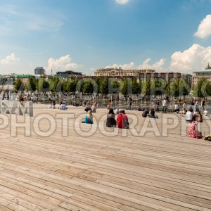 People enjoying a sunny day in Krymsky Val, Moscow, Russia