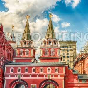 Resurrection Gate, main access to Red Square in Moscow, Russia