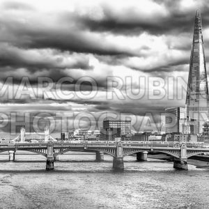 River Thames, Bridges and The Shard, London, UK