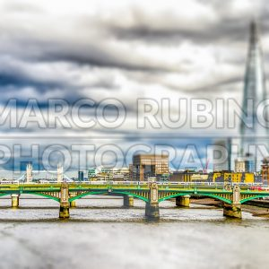 River Thames and Bridges, London, UK. Tilt-shift effect applied
