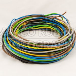 Roll of multicolored electric cables