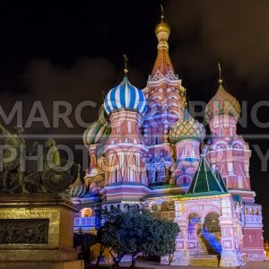 Saint Basil's Cathedral at night, Red Square in Moscow, Russia