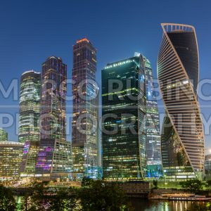 Scenic night view of Moscow City International Business Center, Russia
