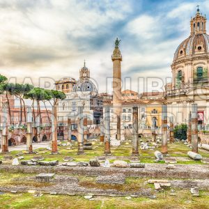 Scenic ruins of the Trajan's Forum and Column, Rome, Italy