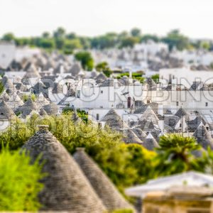 Scenic view of Alberobello and trulli, Italy. Tilt-shift effect applied