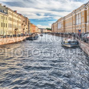 Scenic view over Moyka River embankment, St. Petersburg, Russia